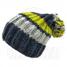Warm Wooly Slouchy Beanie Hat w/ Thick Color Striped (BLUE) #51803
