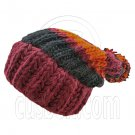 Warm Wooly Slouchy Beanie Hat w/ Thick Color Striped (RED) #51804