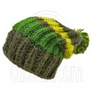 Warm Wooly Slouchy Beanie Hat w/ Thick Color Striped (GREEN) #51805