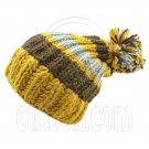 Warm Wooly Slouchy Beanie Hat w/ Thick Color Striped (YELLOW) #51807