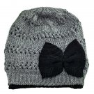Warm Double Layer Wooly Slouchy Beanie Hat w/ Butterfly (GRAY BLACK) #51809