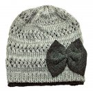 Warm Double Layer Wooly Slouchy Beanie Hat w/ Butterfly (GRAY) #51810