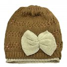 Warm Double Layer Wooly Slouchy Beanie Hat w/ Butterfly (BROWN) #51811