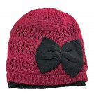 Warm Double Layer Wooly Slouchy Beanie Hat w/ Butterfly (BURGUNDY RED) #51814