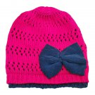 Warm Double Layer Wooly Slouchy Beanie Hat w/ Butterfly (HOT PINK) #51816
