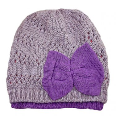 Warm Double Layer Wooly Slouchy Beanie Hat w/ Butterfly (PURPLE) #51817