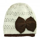 Warm Double Layer Wooly Slouchy Beanie Hat w/ Butterfly (BEIGE WHITE) #51818