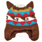 Warm Lovely Ears Earflaps Wooly Beanie Hat w/ Jacquard Pattern (BROWN) #51819