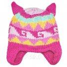 Warm Lovely Ears Earflaps Wooly Beanie Hat w/ Jacquard Pattern (HOTPINK) #51822