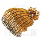 Warm Thick Top Pom Slouchy Wooly Beanie Hat w/ Jacquard Pattern (BROWN) #51826