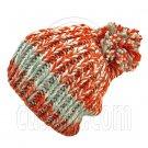 Warm Thick Top Pom Slouchy Wooly Beanie Hat w/ Jacquard Pattern (ORANGE) #51827