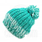 Warm Thick Top Pom Slouchy Wooly Beanie Hat w/ Jacquard Pattern (GREEN) #51828