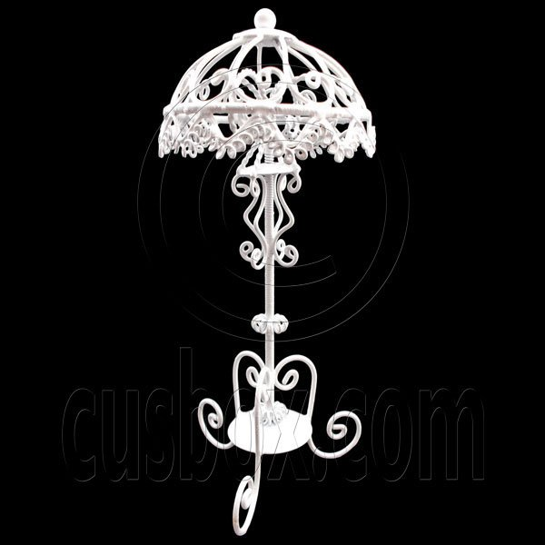 White Victoria Wire Floor Lamp Light Decor 1:12 Doll's House Dollhouse Miniature #12618