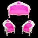 Set 3 Pink Sofa Arm Chair New 1:6 Barbie Blythe Doll's House Dollhouse Furniture #12637