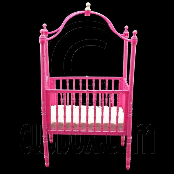 Pink Nursery Cradle Bed Canopy 1/6 Barbie Kelly Doll's House Dollhouse Furniture #12707