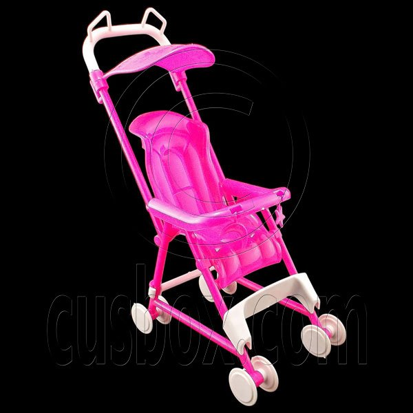 Pink Nursery Baby Stroller Pram 1/6 for Barbie Kelly Doll's Dollhouse Furniture #12733