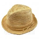 Crocheted Women's Raffia Straw Hat w/ Cord Band Bow #51853