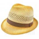 Unisex's Vented Lightweight Fedora Straw Hat w/ Brown Band #51855