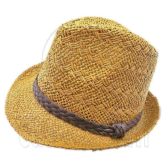 Mens' Two Woven Pattern Fedora Straw Hat w/ Brown Band (Dark Khaki) #51858