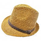 Mens' Two Woven Pattern Fedora Straw Hat w/ Brown Band (Dark Khaki) #51858