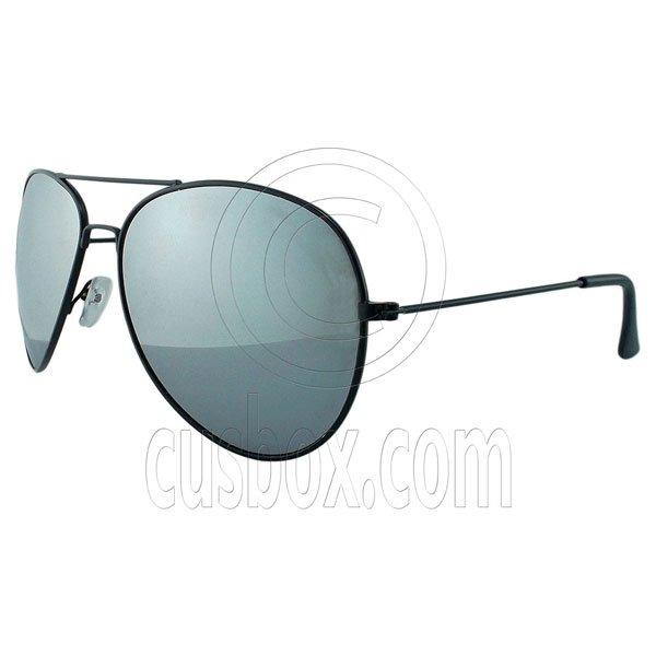 Designer Aviator Anti-Reflective Sunglasses UV400 Full Silver Mirror Black Frame #12974