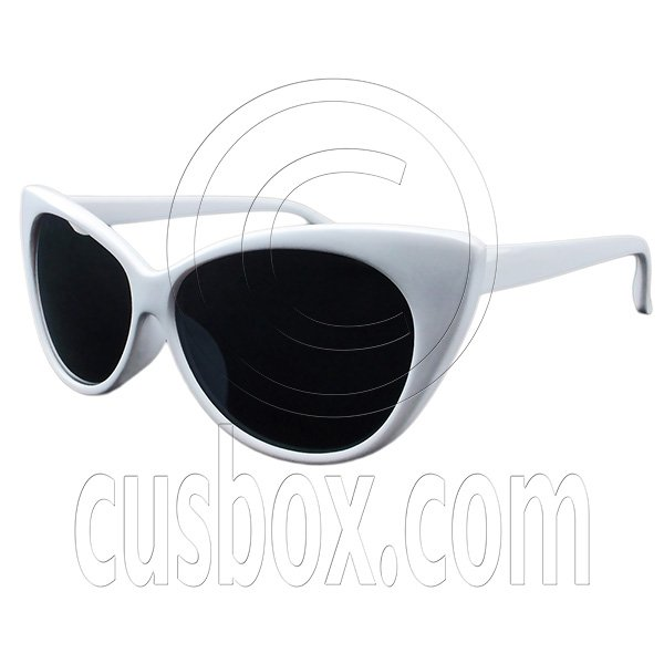 Women's Classic Cat Eye Oversized Designer Fashion Shades White Frame Sunglasses #12980