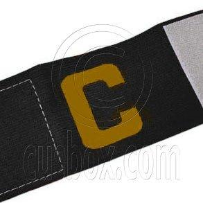 Football Games Gear Adjustable Captain Armband (BLACK) Golden C #51904