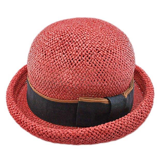 Unisex's Woven Straw Dome Shaped Hat w/ Ribbon Headband (REDDISH BROWN) #51899