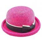 Unisex's Woven Straw Dome Shaped Hat w/ Ribbon Headband (HOT PINK) #51898