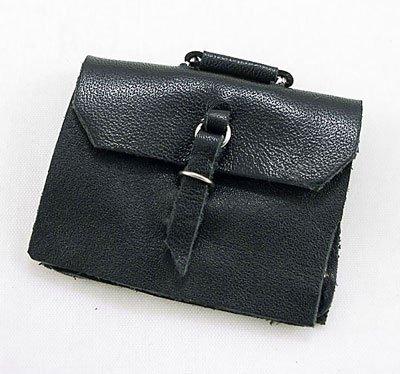 Black Leather Men Office Laptop Bag Dollhouse Miniature #10280