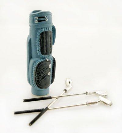 Blue Golf Clubs Steel Iron Bag Set Dollhouse Miniature #10287