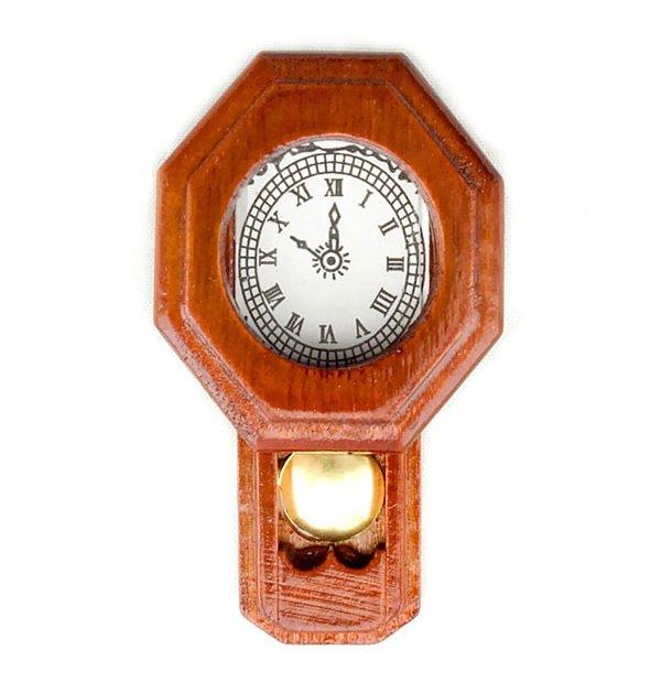 Mahogany Antique School Wall Clock Dollhouse Miniature #10363