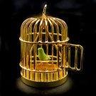 Gold Wire Birdcage Bird Cage w Bird Dollhouse Miniature #10435