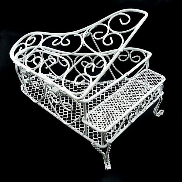 White Wire Modern Piano Dollhouse Furniture Miniature #10747