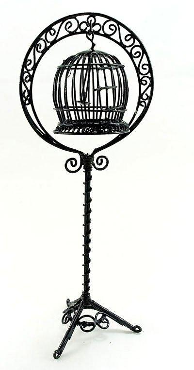 Black Wire New Bird's Cage Birdcage Dollhouse Miniature #10768