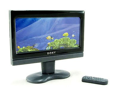 LCD Slim TV Plasma 16:9 w Remote Dollhouse Miniature #10852