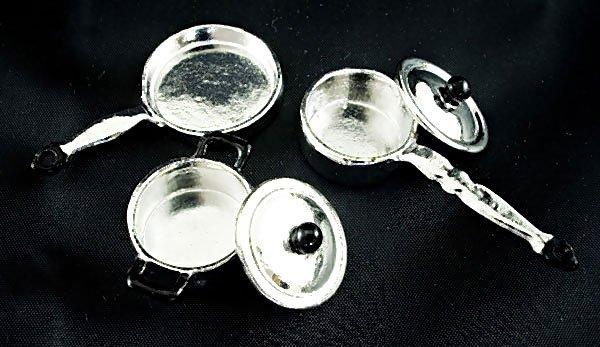 Set/Lot Kitchen Metal Cooking Pan Dollhouse Miniature #10862