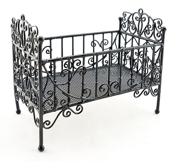 Black Wire Nursery Baby Grow Crib Dollhouse Furniture #10866
