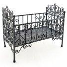 Black Wire Nursery Baby Grow Crib Dollhouse Furniture #10866