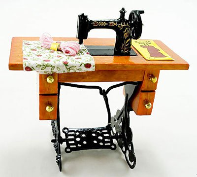 Vintage Black Sewing Machine Table Dollhouse Miniature #10868