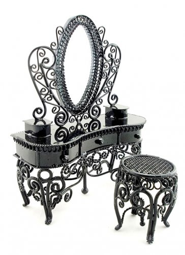 Black Wire Mirror Vanity Chair Set Dollhouse Furniture #11112