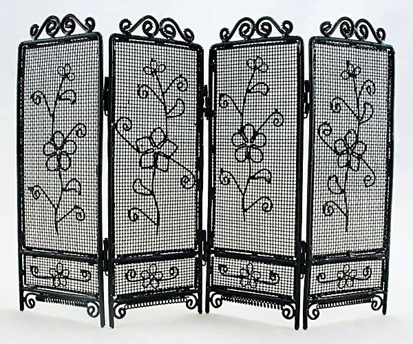 Black Wire Folding Screen Divider Dollhouse Furniture #11174