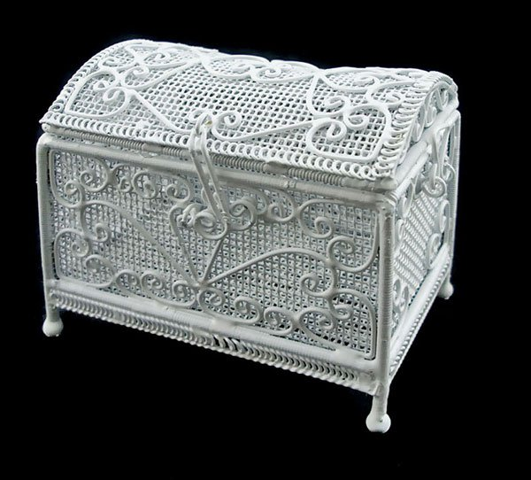 White Wire Jewellery Chest Box 1:12 Dollhouse Miniature #11176