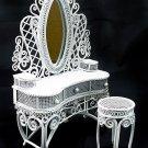 White Wire Makeup Desk Chair Dollhouse Furniture Set #11179