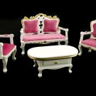 Set Victorian White Wood Sofa Table Dollhouse Furniture #11202