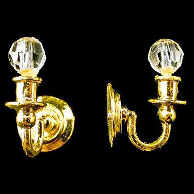 Pair Victorian Gold Wall Lamp Light Dollhouse Miniature #11271