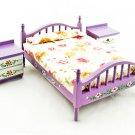 Purple Nursery Bed 2 Nightstand Set Dollhouse Furniture #11349