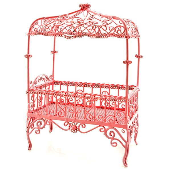 Victorian Pink Wire Bedroom Bed Dollhouse Furniture MIB #11387