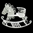 White Wire Nursery Rocking Horse Dollhouse Miniature #11433