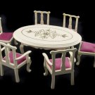 White Pearl Queen Anne Table Chair Dollhouse Furniture #11456